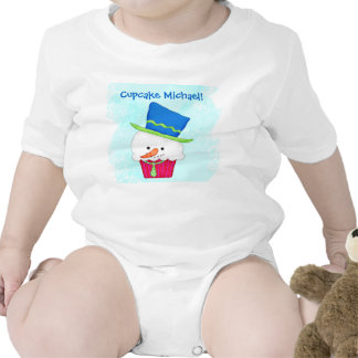 Christmas Snowman Cupcake Name Personalized Bodysuits