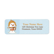 Christmas Snowman Custom Return Address Labels
