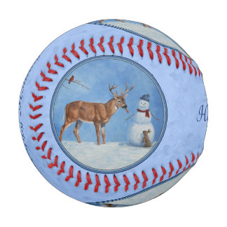 Christmas Snowman Deer Cute Bunny Blue Baseball