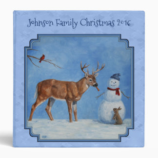 Christmas Snowman Deer Cute Bunny Blue Binder