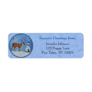Christmas Snowman Deer Cute Bunny Blue Label