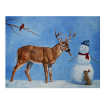 Christmas Snowman Deer Cute Bunny Blue Postcard