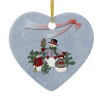 Christmas Snowman family Ceramic Ornament