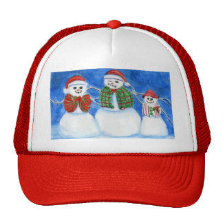Christmas Snowman Family, Hand Drawn and Painted Mesh Hat