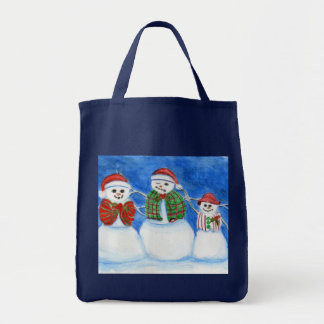 Christmas Snowman Family, Hand Drawn and Painted Tote Bag