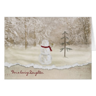Christmas snowman for Daughter Card