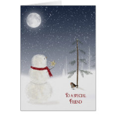Christmas Snowman for Friend Card at Zazzle