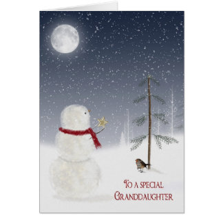 Christmas Snowman for Granddaughter Greeting Card