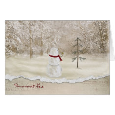 Christmas Snowman For Niece Card at Zazzle