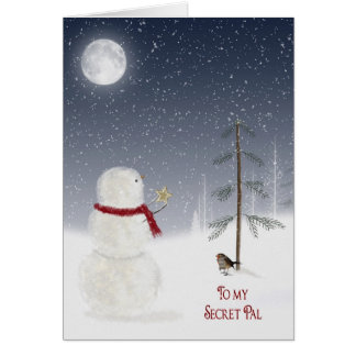 Christmas Snowman for Secret Pal Greeting Card