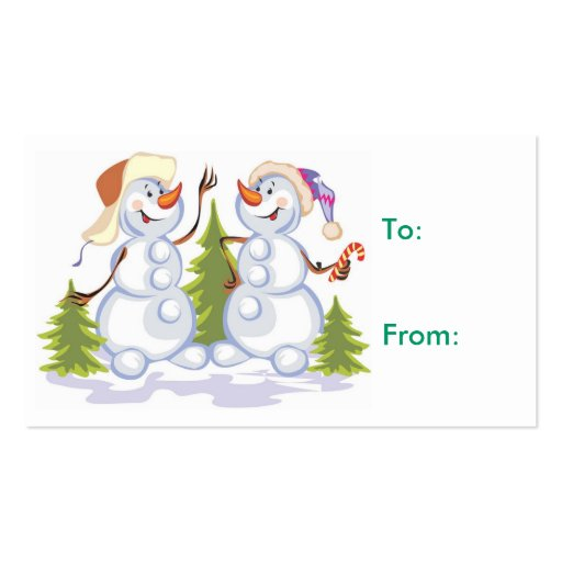Christmas snowman Gift Tag Business Card Template