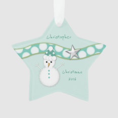 Christmas Snowman Green Star Ornament Grandson at Zazzle