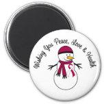 Christmas Snowman Head Neck Cancer Ribbon Magnet