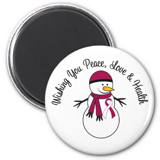 Christmas Snowman Head Neck Cancer Ribbon Magnet