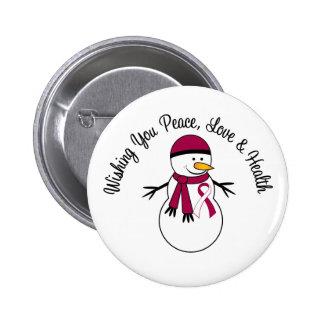 Christmas Snowman Head Neck Cancer Ribbon Pinback Button