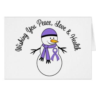 Christmas Snowman Hodgkins Lymphoma Ribbon Card