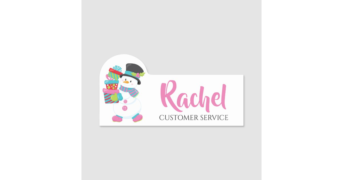 Christmas Snowman Holding Gifts Personalized Name Tag
