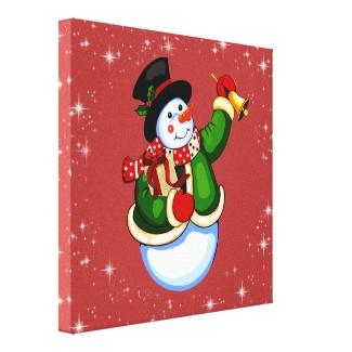 Christmas Snowman Holiday Canvas Print