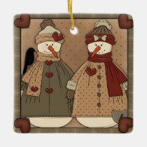 Christmas snowman Holiday ceramic square ornament