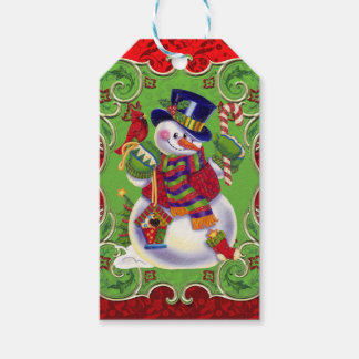 Christmas snowman Holiday gift tag
