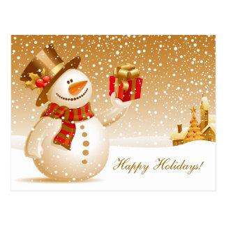 Christmas Snowman Holiday Greetings Postcard