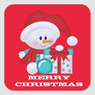 Christmas Snowman Holiday red sticker