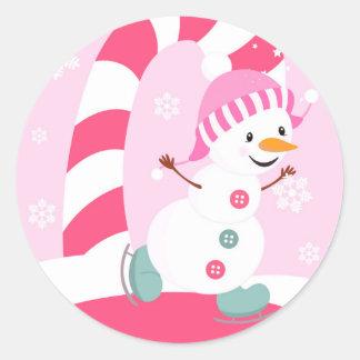Christmas Snowman Ice Skating Round Stickers