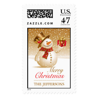 Christmas Snowman Large Postages Stamp