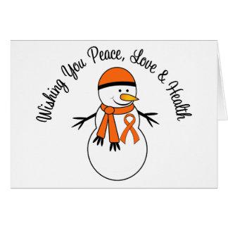 Christmas Snowman Leukemia Ribbon Greeting Card