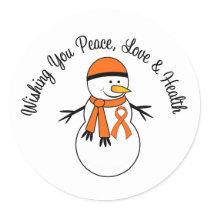 Christmas Snowman Leukemia Ribbon Classic Round Sticker