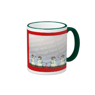 Christmas Snowman Line 2-Photo Frame Ringer Mug