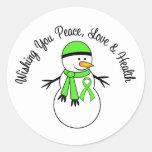 Christmas Snowman Lymphoma Ribbon Round Stickers