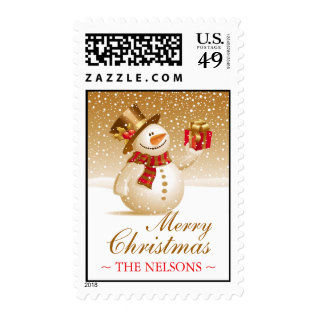 Christmas Snowman Medium Postages Postage at Zazzle