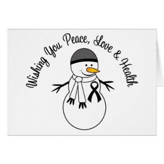 Christmas Snowman Melanoma Ribbon Card
