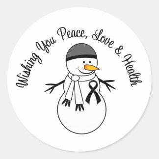 Christmas Snowman Melanoma Ribbon Round Sticker