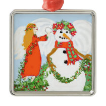 Christmas Snowman Metal Ornament