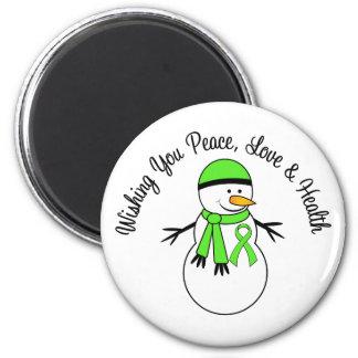 Christmas Snowman Non-Hodgkins Lymphoma Ribbon Refrigerator Magnet