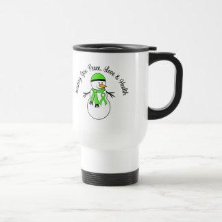 Christmas Snowman Non-Hodgkins Lymphoma Ribbon Travel Mug