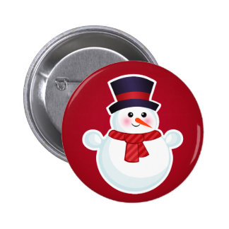 Christmas Snowman on Red Background Pins