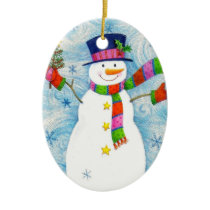 """Christmas Snowman"" Ornament (Oval)"