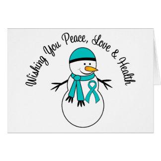 Christmas Snowman Ovarian Cancer Ribbon Greeting Card