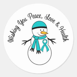 Christmas Snowman Ovarian Cancer Ribbon Classic Round Sticker