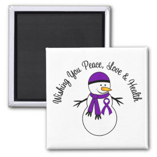 Christmas Snowman Pancreatic Cancer Ribbon 2 Inch Square Magnet