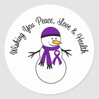 Christmas Snowman Pancreatic Cancer Ribbon Classic Round Sticker