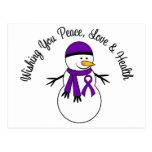 Christmas Snowman Pancreatic Cancer Ribbon Post Card