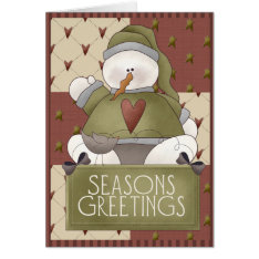 Christmas Snowman Patchwork Card at Zazzle