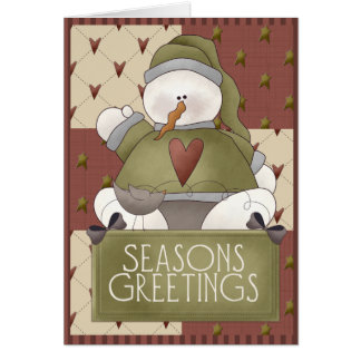 Christmas Snowman Patchwork Greeting Cards