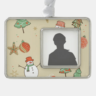 Christmas snowman pattern silver plated framed ornament