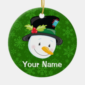 Christmas Snowman Personalized Ceramic Ornament