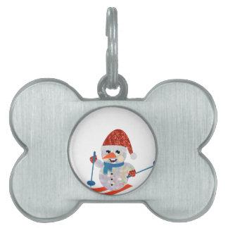christmas snowman pet ID tag